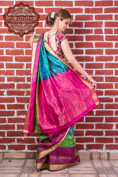 Lake Blue With Magenta & Green Border Kanjivaram Soft Silk Saree