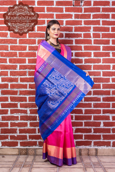 Hot Pink With Blue Pallu Pure Kanjivaram Pattu Soft Silk Saree