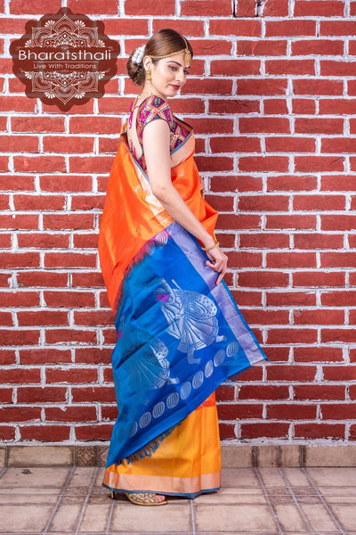 Yellow & Orange With Blue Pallu Pure Kanjivaram Soft Silk Saree
