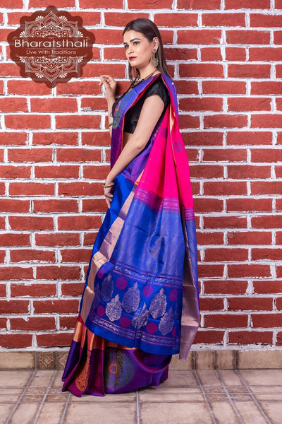Magenta With Blue Border Pure Kanjivaram Soft Silk Saree