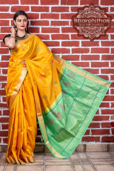 Gold Yellow With Fern Green Pallu Pure Kanjivaram Soft Silk Saree