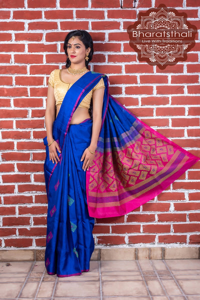 Royal Blue With Ruby Pink Pallu Pure Kanjivaram Soft Silk Saree