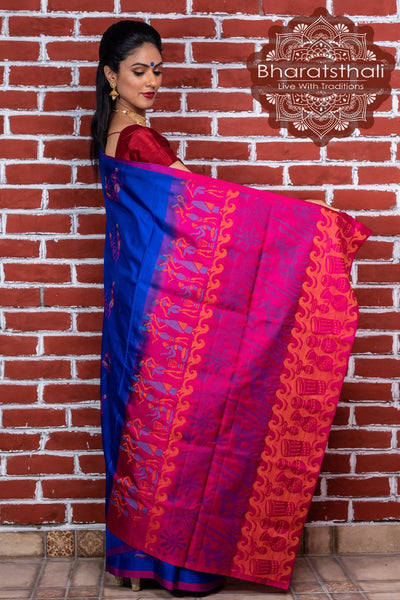 Indigo Blue With Magenta Pallu Pure Kanjivaram Soft Silk Saree