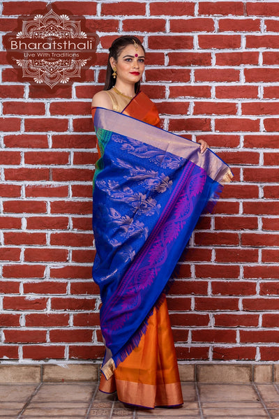 Cadmium Yellow With  Blue Pallu Pure Kanjivaram Soft Silk Saree