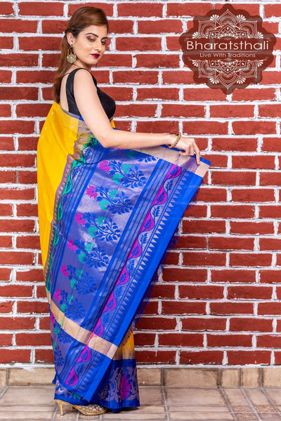 Yellow With Blue Pallu Kanjivaram Soft Silk Saree