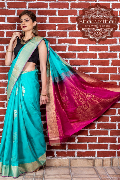 Dark Cyan Green With Magenta Zari Pallu Kanjivaram Soft Silk Saree