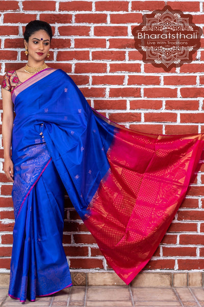 Purple With Magenta Pallu Kanjivaram Soft Silk Saree