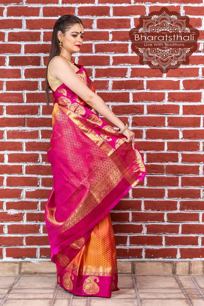 Glossy Gold Orange With Ruby Pink Pallu Pure Kanjivaram Pattu Soft Silk Saree