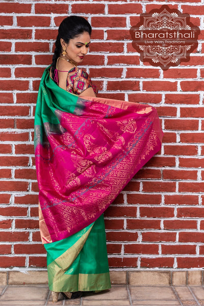 Jade Green With Magenta Pallu Pure Kanjivaram Soft Silk Saree