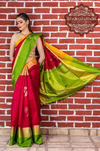 Maroon With Parrot Green Pallu Pure Kanjivaram Soft Silk Saree