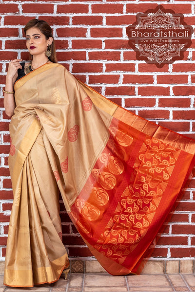 Trombone Yellow With Orange Pallu Pure Kanjivaram Pattu Soft Silk Saree