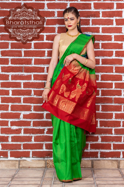 Emerald Green With Red Pallu Pure Kanjivaram Soft Silk Saree