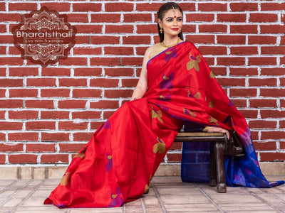 Red With Blue Pallu Kanjivaram Soft Silk Saree