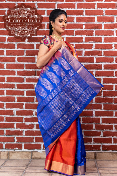Squash Orange With Blue Border Kanjivaram Soft Silk Saree