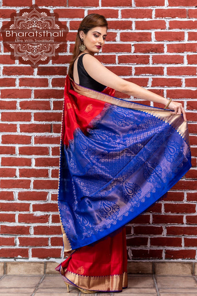 Red With Blue Zari Pallu Kanjivaram Soft Silk Saree