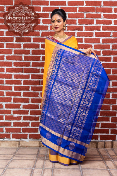 Fire Yellow With Purlpe Pallu Kanjivaram Soft Silk Saree