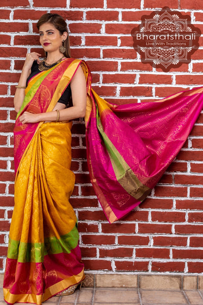 Tuscany Yellow With Magenta Pallu Pure Kanjivaram Soft Silk Saree