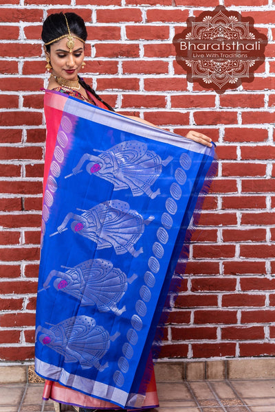 Punch Pink With Blue Border Kanjivaram Soft Silk Saree