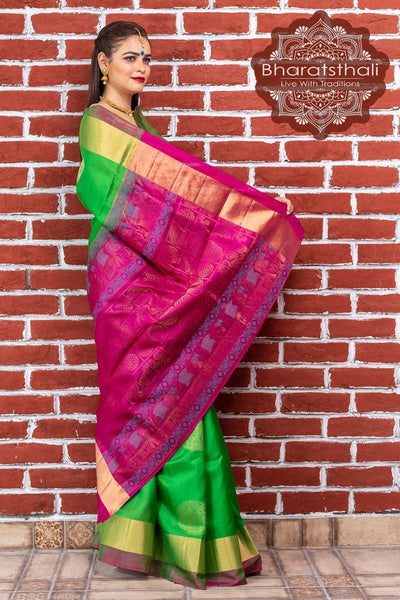 Kelly Green With Jam Pink Pallu Kanjivaram Soft Silk Saree