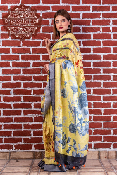Pure Linen Lemon Yellow Digital Print Saree