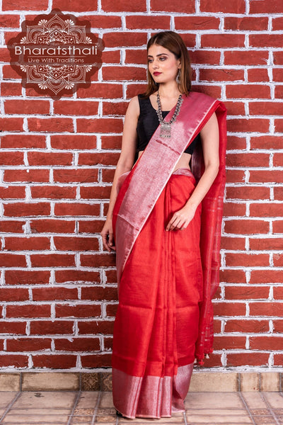 Pure Linen Red Saree