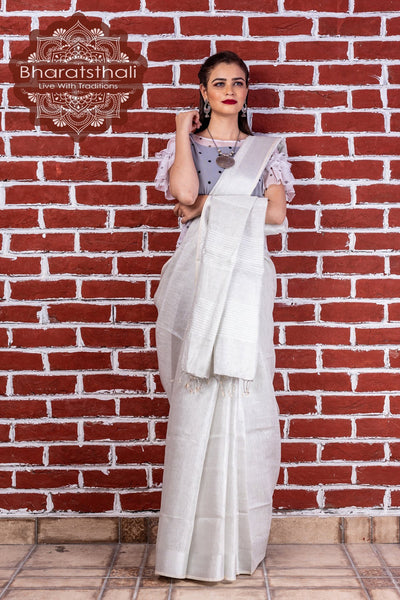 Pure Linen White Tissue Saree