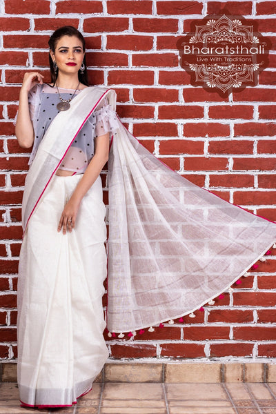 White And Pink Pure Linen Handloom Saree