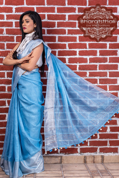Pure Linen Cornflower Blue Handloom Saree