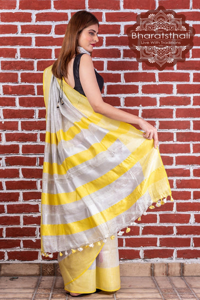 Pure Linen Yellow  With Silver Border Tissue Saree