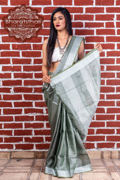 Pure Linen Sage Green Tissue Saree