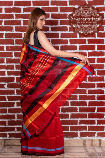 Red And Black With Jute Pallu Raw Silk Handloom Saree