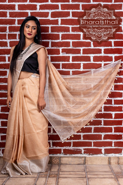 Pure Linen Auto Cream Handloom Saree