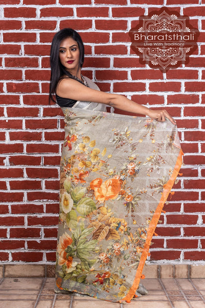 Pure Linen Pastel Jade Digital Print Saree