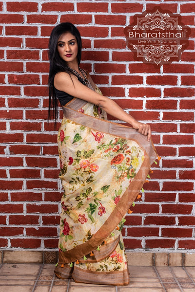 Pure Linen Mellow Digital Print Saree