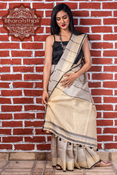 Cloud Grey And Oat Cream Pure Linen Handloom Saree