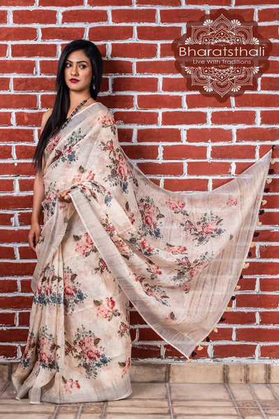 Pure Linen Oat Cream Digital Print Saree