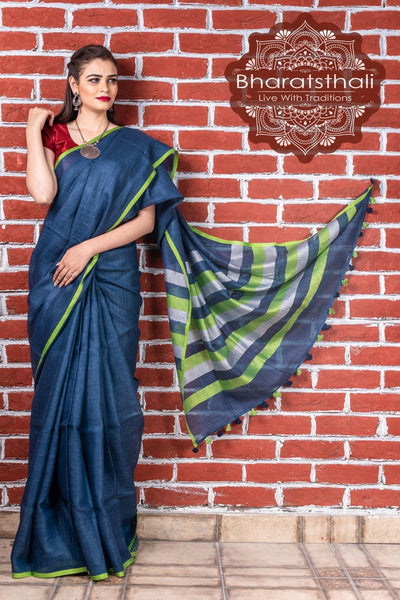 Denim Blue With White Green Pallu Pure Linen Handloom Saree