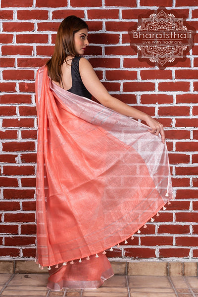 Pure Linen Peach Pink Handloom Saree