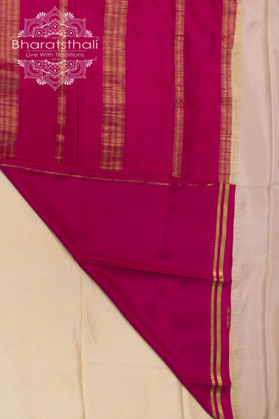 Pearl White  with  hot pink - Golden Zari Border and Pallu - Booti work