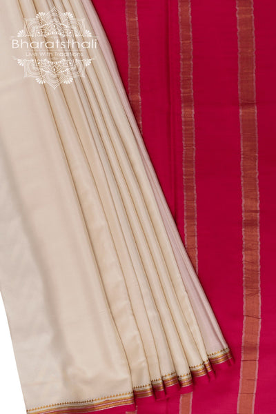 Pearl White saree with Neon Pink Pallu - Golden and Silver Zari Border