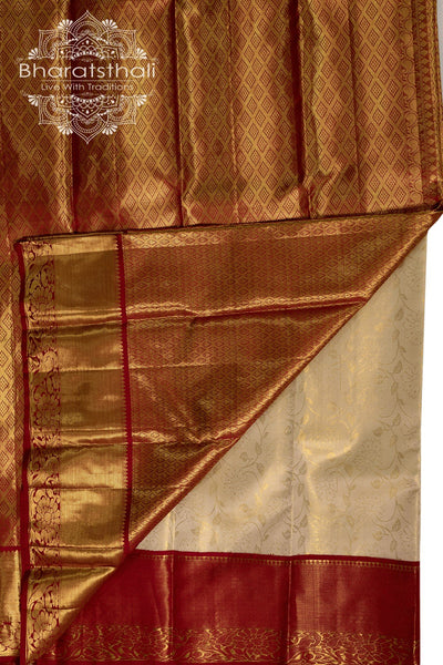 Cream sareeDual tone with Maroon border -golden zari  pallu and border - ALL