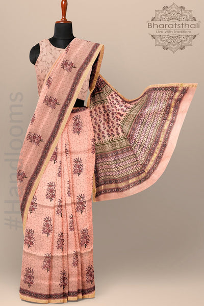Peach Color Pure Chanderi Cotton Silk Printed Saree