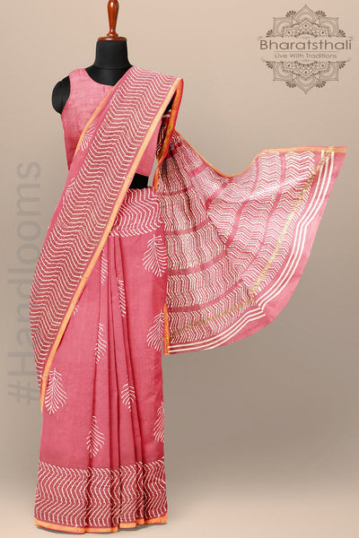 Rouge Pink Color Pure Chanderi Cotton Silk Printed Saree