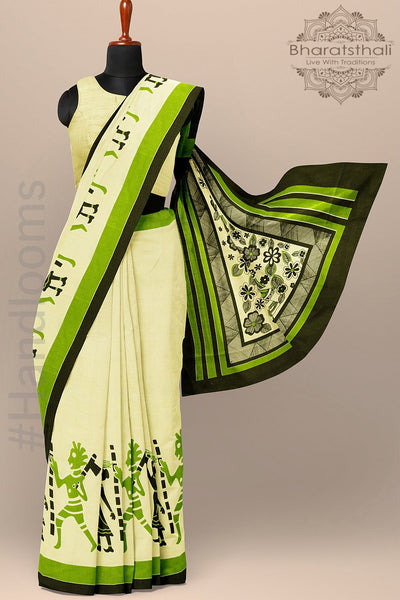 Muslin Cream Color Cotton Saree with Print Figures Border