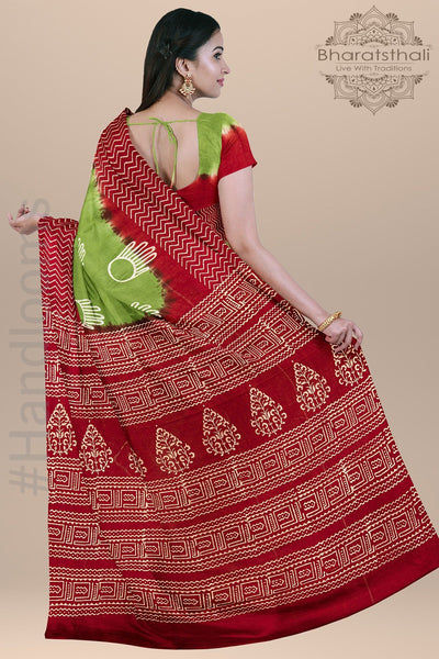 Red and Green Handloom Pure Cotton Print