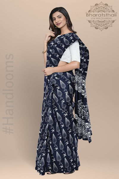 Blue and White Handloom Pure Cotton Print Saree