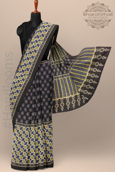 Printed Black Color Pure Cotton Saree with Broad print Border