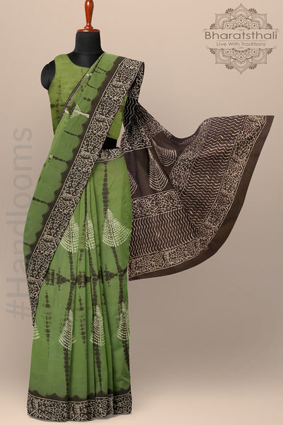 Printed Green and Brown Pure Cotton Saree