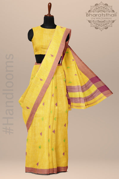 Yellow Color Bengali Saree with Taant Work