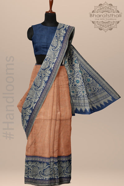 Copper Color Saree and Navy Blue Bengali Raw Silk Saree with Zari Pallu